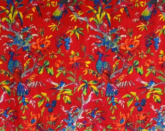 fabric, JERSEY, bird of paradise, red and multicolor collection