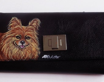 Pomeranian Dog Hand Painted Ladies Leather Wallet