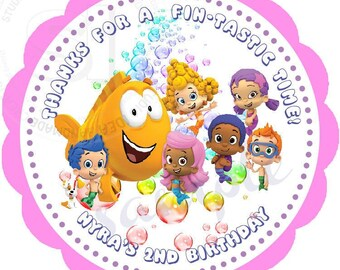 "Custom Bubble Guppies Printable 2.5"" Tags-Personalized Birthday 2.5 inches Tags- Stickers- DIY -Bubble Guppies Party Favor Tags"