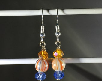 Orange & Blue swirls with matching crystals. French Hook