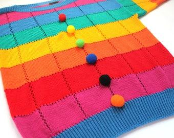 Vintage 80's Gitano Pom Pom Rainbow Sweater