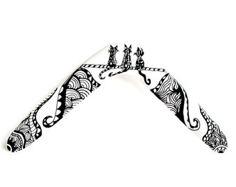 Wooden boomerang, boomerang gift, boomerang for kids, boomerang for adults, returning boomerang, boomerang zentangle, outdoor, decoration