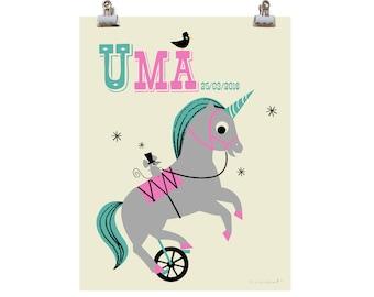 Personalised Unicycling Unicorn Nursery Name Print, New Baby name gift Print Fun Unicorn Print,  Unicorn Nursery Art, Letter U