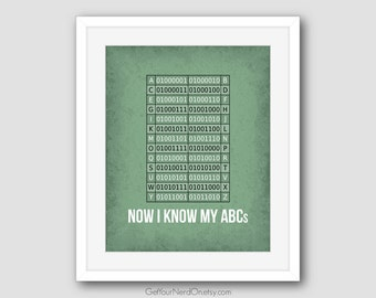 Nerdy ABC Wall Art, Binary Code Art, Nerdy Nursery Decor, Computer Science