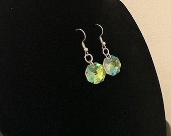 Iridescent Holographic Chandelier Crystal Glass earrings
