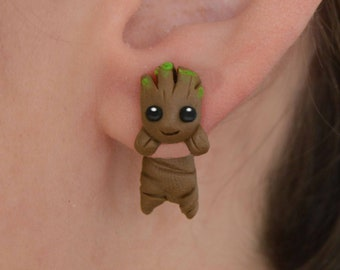 Groot earring, inspired in Guardians of the Galaxy. Select one single earring or a set/pair (2 in ''quantity'')