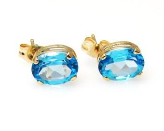 14k Blue Topaz Stud Earrings - Sky Blue Oval Blue Topaz - Pierced - Post Back - December Birthstone # 4109