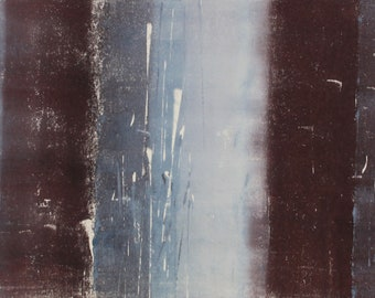 """Original image, Monotype """"thick and thin 5"""", sheet size 30 x 40 cm, motif size 20 x 30 cm, trees, forest, abstract landscape, night"""