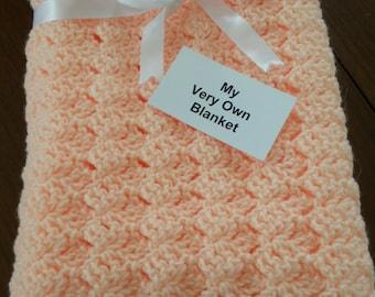 Peach Hand Crocheted  Baby Blanket