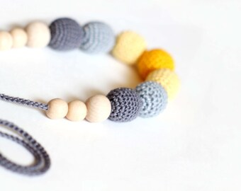 Yellow-Grey Nursing Necklace- Crochet Teething Necklace-Breastfeeding Necklace-  Crochet Necklace for mom and child