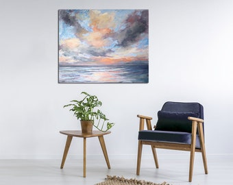 "Seascape Acrylic & Oil Painting / Large Ocean Art / Original Artwork. ""Silk Bandage"" on Canvas 30x36"""