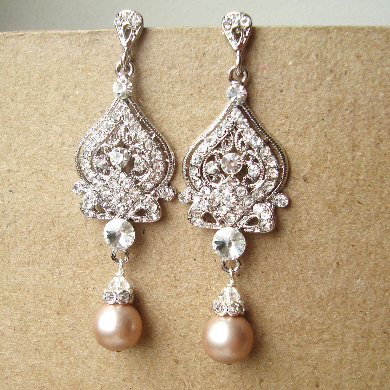 Champagne wedding earrings art deco bridal earrings vintage zoom arubaitofo Images