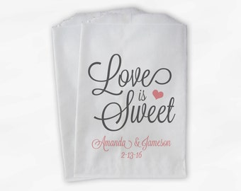 Love Is Sweet Script Wedding Candy Buffet Treat Bags - Personalized Favor Bags in Pink and Dark Gray - Custom Paper Bags (0168)