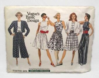 Vogue 2270 Basic Design Very Easy Misses/Misses Petite Jacket and Jumpsuit Size 6-8-10 UNCUT