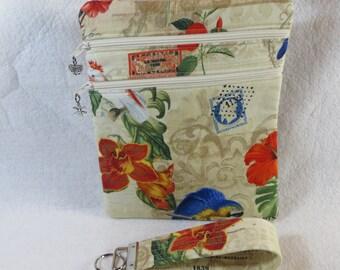 Tropical Flower/ Bird Crossbody Handbag w/adj strap
