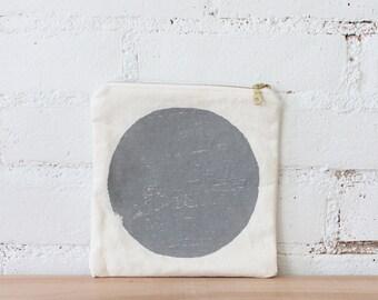 stone gray circle print flat pouch makeup bag SALE