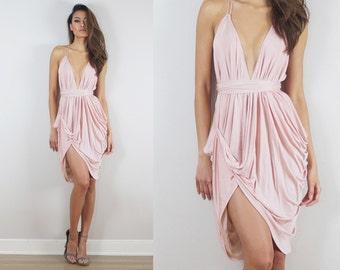 Short Blush Dress, Short Dress, Short Bridesmaids Dress, Grecian Blush Dress, Wedding Guest Dress, Destination Wedding