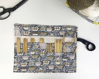 Knitting Needle Case, Crochet Hook Case, DPN Roll, Craft Storage, Knitting Needle Organizer, Pencil Roll, Teacup Cotton, Tea Cups in Blue