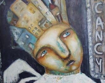 Vacancy, Mixed Media Folk Art Painting by Stephanie Goarin. ***RESERVED***