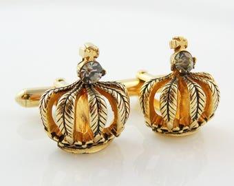 Vintage Crown Cufflinks with Rhinestone Gold Tone