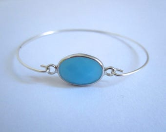 Thin silver turquoise stone