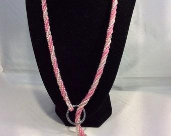 Pink herringbone necklace