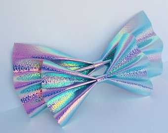 Holographic Mermaid Dragon Scale Hair Bow Clip Small Large Multiple Colours