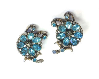 50s Hollycraft Blue Rhinestone Earrings | 1953 Blue Rhinestone Flower Clip Earrings