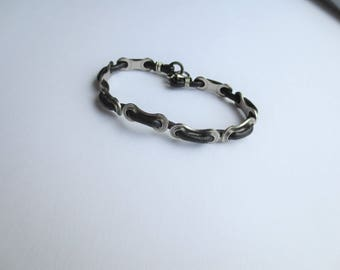 Men's Bicycle Chain and Black Leather Bracelet , Upcycled Bike Jewelry