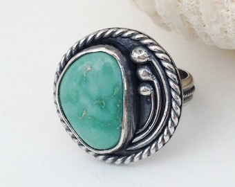 Modern Turquoise Ring Size 6 1/2, Contemporary Sterling Silver Floral Design, Artisan Silversmith Bohemian Large Unique Statement Jewelry