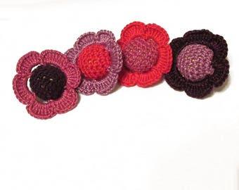 Crocheted beads - flowers, 20 mm round craft balls cotton on wood, pink purple mix