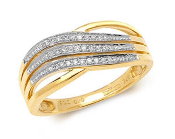 DIAMOND CROSSOVER Yellow  Gold Ring