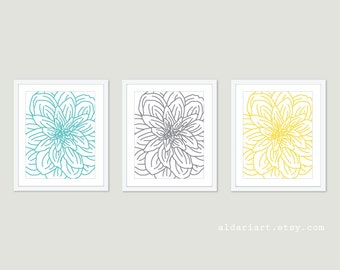Modern Flower Art Prints - Dahlia Wall Art - Set of Three Dahlia Prints - Aqua Turquoise Grey Yellow Art - Aldari Art