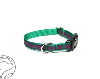 "Lindsay Clan Tartan Small Dog Collar - Thin Dog Collar - 1/2"" (12mm) Wide - Green Plaid - Choice of collar style and size"