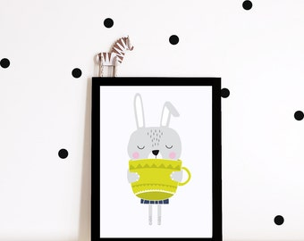 Bunny Nursery wall art, nursery decor, nursery print, Kids room art print, kids room decor, Bunny