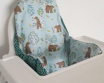 Cushion cover Antilop IKEA highchair- cushion cover only - forest bear and teal fabric cushion cover - ikea high chair cover  gender neutral