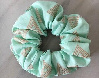 Scrunchie, scrunchies, scrunchie turquoise hair scrunchie-gold, turquoise hair accessory, ponytail accessory, hair elastic