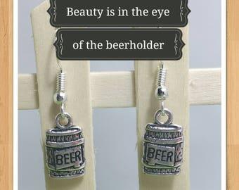 BEER KEG BARREL earrings