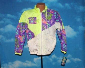 Splash Deadtock NEW Neon Yellow Purple Full Zip Windbreaker Jacket 14 Vintage 1990s