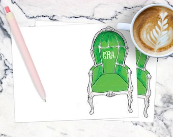 Monogrammed Stationery Notecards, Personalized: Birdcage Chair