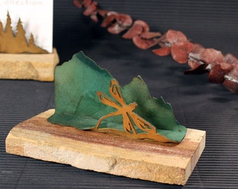 Business Card Holder - Patina Metal and Sand stone - Dragonfly