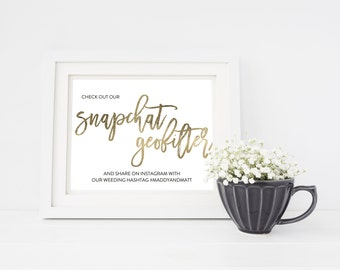 Wedding Sign Template | Snapchat Geofilter Sign | Wedding Sign | Printable Wedding Sign | 5x7 & 8x10 | EDN 5439