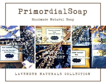 PrimordialSoap's Lavender Naturals Collection Three Soap Boxed Gift Set Handmade Natural Soap Luxury soap Elegant gift Mothers' Day gift