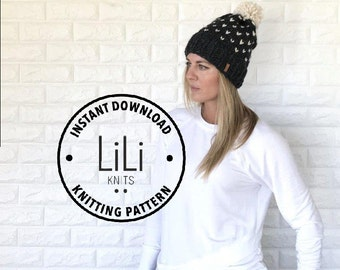 Pattern | LiLiKnits Chunky Knit Fair Isle Hat | THE MODA | Instant Download