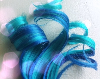 the M E R M A I D ... mermaid electric Blue and Teal human hair clip in extension