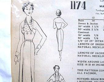 "Vintage 50s Rockabilly Halter Dress w Bolero. Modes Royale 1174 Sewing Pattern. Size 16 Bust 34"""