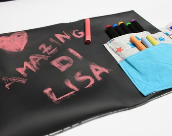 External travel blackboard in cotton coloring, writable interior with chalks