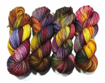 Hand Dyed Yarn super wash merino wool sport DK weight base Prairie natural fibre variegated multi colour Tulips knitting crochet weaving