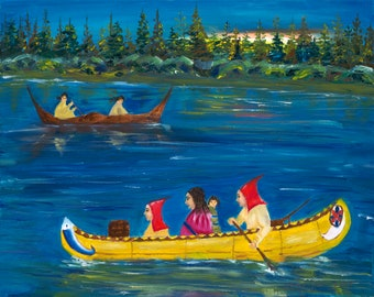 Family journey in the river - 16x20 oil painting