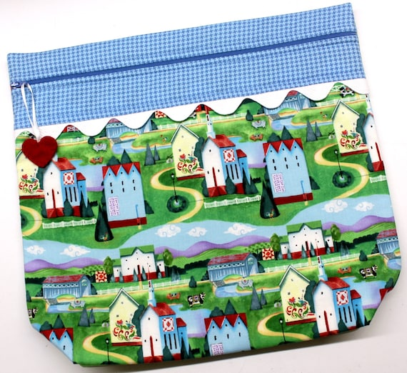 MORE2LUV Quilt Villiage Farm Cross Stitch Embroidery Project Bag